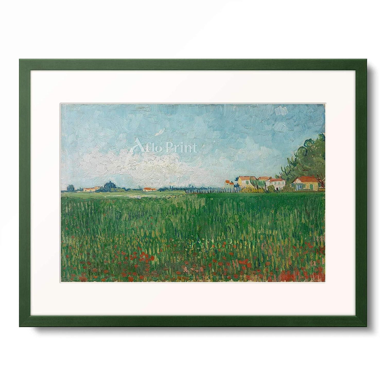 フィンセントファンゴッホ Vincent Willem van Gogh 「Field with poppies」 額装アート作品 B07PHKYD4T 12.木製額 13mm(緑) S(額内寸 255mm×203mm) S(額内寸 255mm×203mm) 12.木製額 13mm(緑)