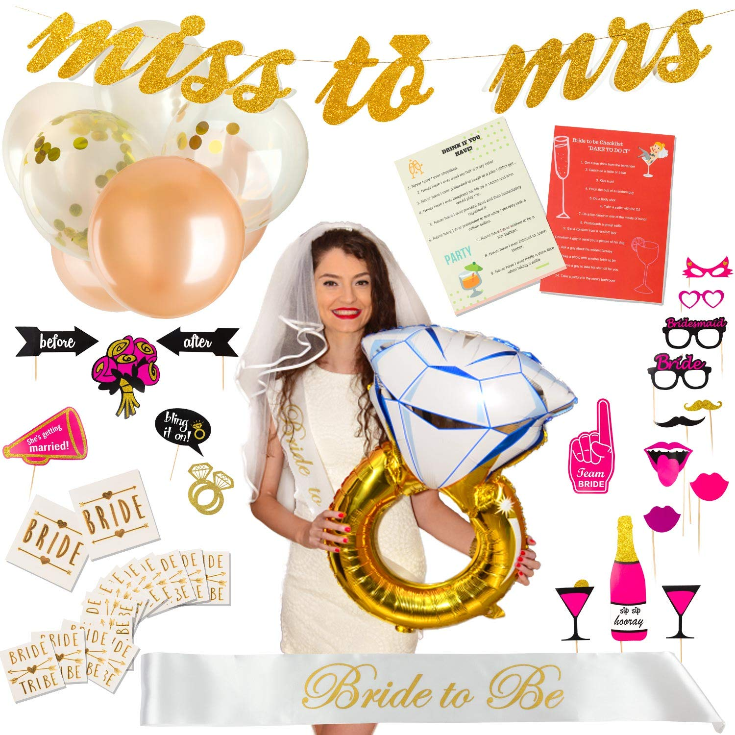"Exclusive Bachelorette Party Decorations - Bridal Shower Supplies Kit with ""Bride to Be"" Sash and Satin Veil – Includes Bridesmaid Games, 12 Tattoos, 6 Balloons and 20 Photo Booth Props – Great GlFT by Lorelai's Decorations"