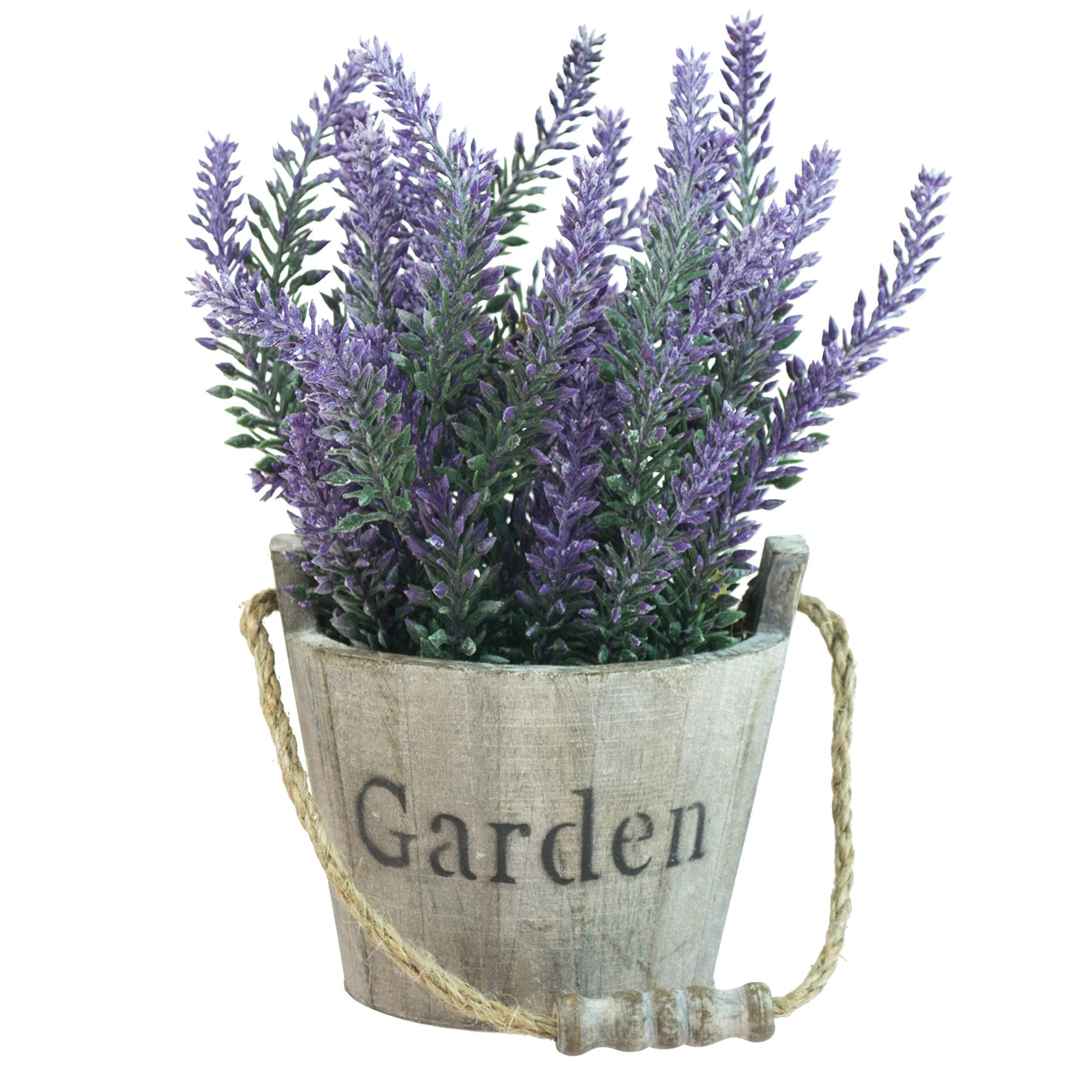 MyGift Artificial Lavender Plant, Faux Flower in Rustic Wood Garden Bucket Planter Pot, Brown