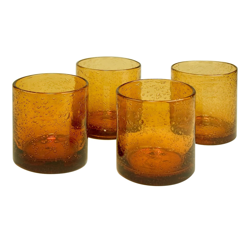 Amber Bubble Glass Tumbler Set