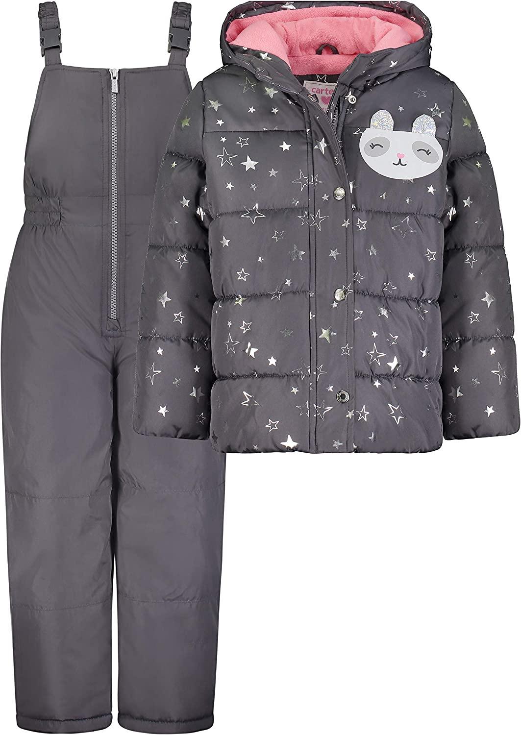 Grey//Silver Stars 18MO Carters Baby Girls 2-Piece Heavyweight Printed Snowsuit