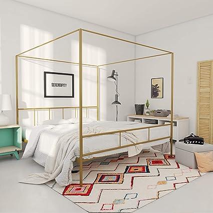 Amazon.com: Novogratz Marion Canopy Bed Frame, Gold King: Kitchen ...