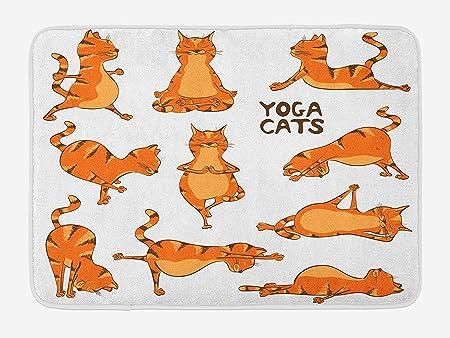 MSGDF Cat Bath Mat, Cats Doing Yoga Position Exercise ...