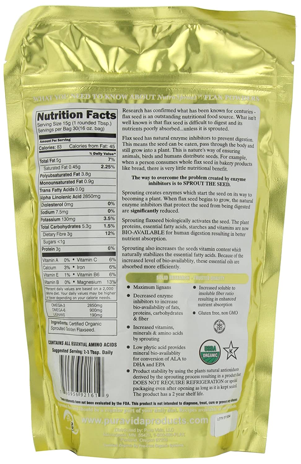 Bulk flax seed for crafts - Amazon Com Sprout Revolution Nutrasprout Premium Organic Sprouted Ground Flax 16 Ounce Pouch Pack Of 2 Flaxseeds Spices And Herbs Grocery Gourmet