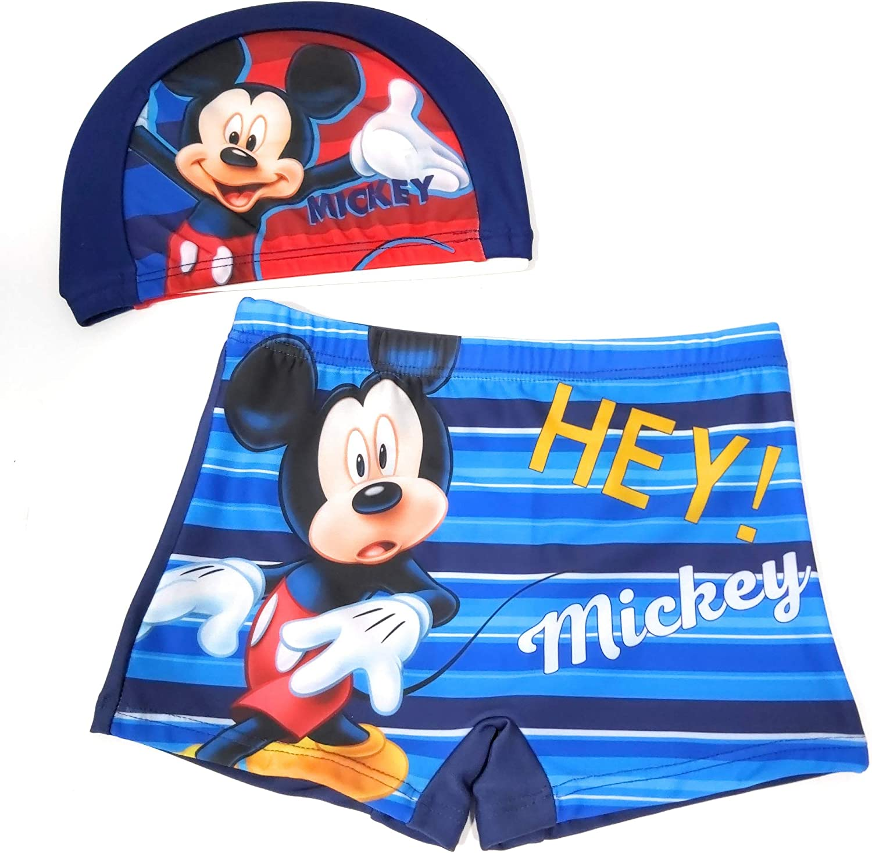 Bañador Mickey Mouse para niños Tipo Boxer + Gorro de Natación Mickey Mouse Piscina