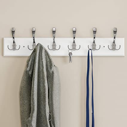 Amazon.com: Lavish Home Wall Rail-Mounted Hanging Rack with 6 Hooks ...