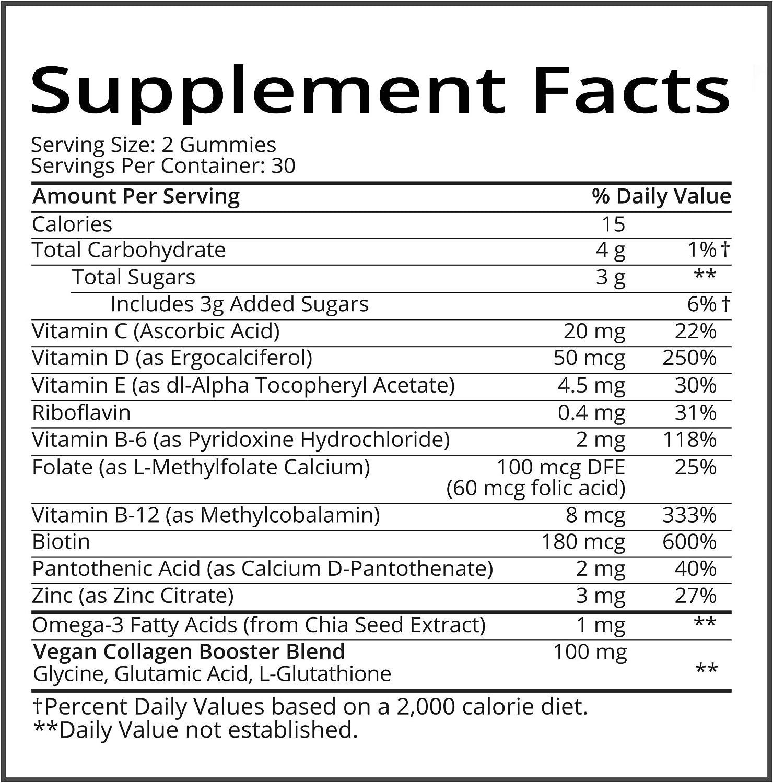 SugarBearHair Vitamins, Vegetarian Gummy Hair Vitamins with Biotin, Vitamin D, Vitamin B-12, Folic Acid, Vitamin A (1 Month Supply)