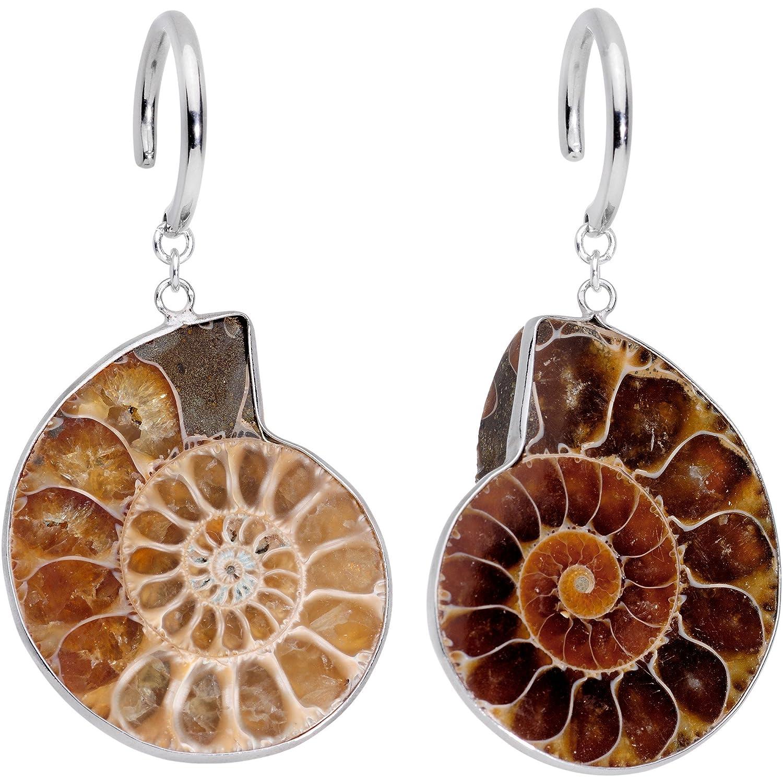 Body Candy Handcrafted 2.4mm Ear Hanger 2Pc Steel Spiral Ammonite Fossil Hook Ear Weights 10 Gauge HC-6919