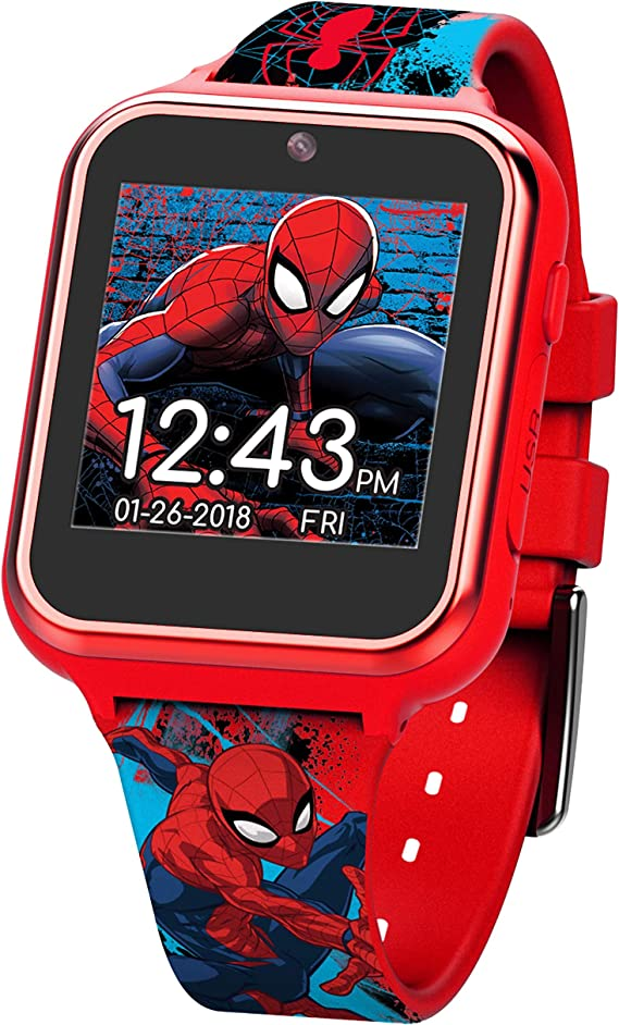 Marvel Boys Touch-Screen Watch with Silicone Strap, red, 19.5 (Model: SPD4588AZ)