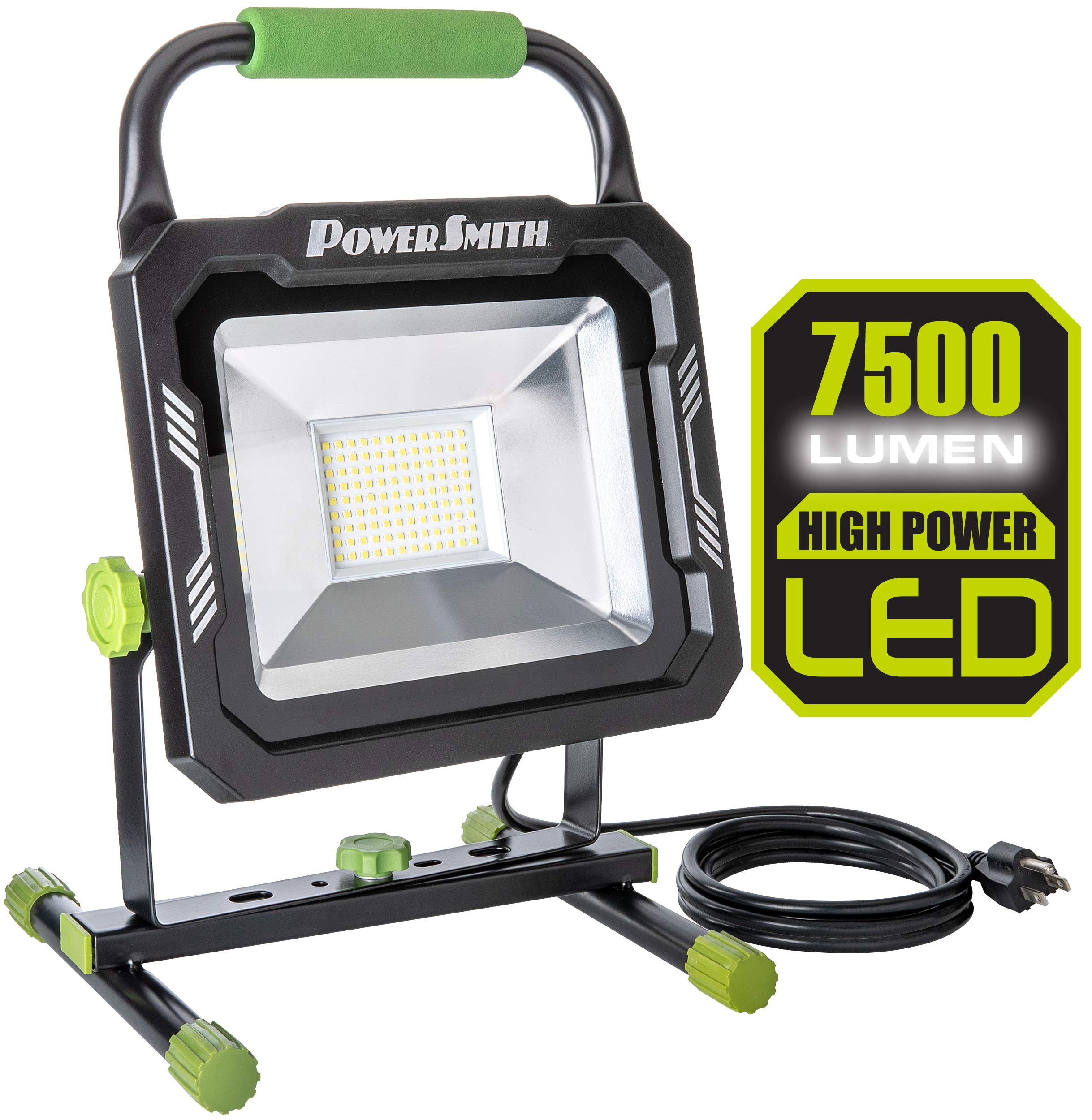 PowerSmith PWL175S 7,500 Lumen LED PRO-Grade work light with Adjustable Metal Stand and 10ft Power Cord, Black & Green