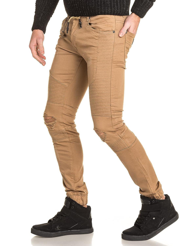 Project X - Man Biker Jeans beige gerippt zerstören - Color: Beige, Size:  FR 42 US 34: Amazon.de: Bekleidung