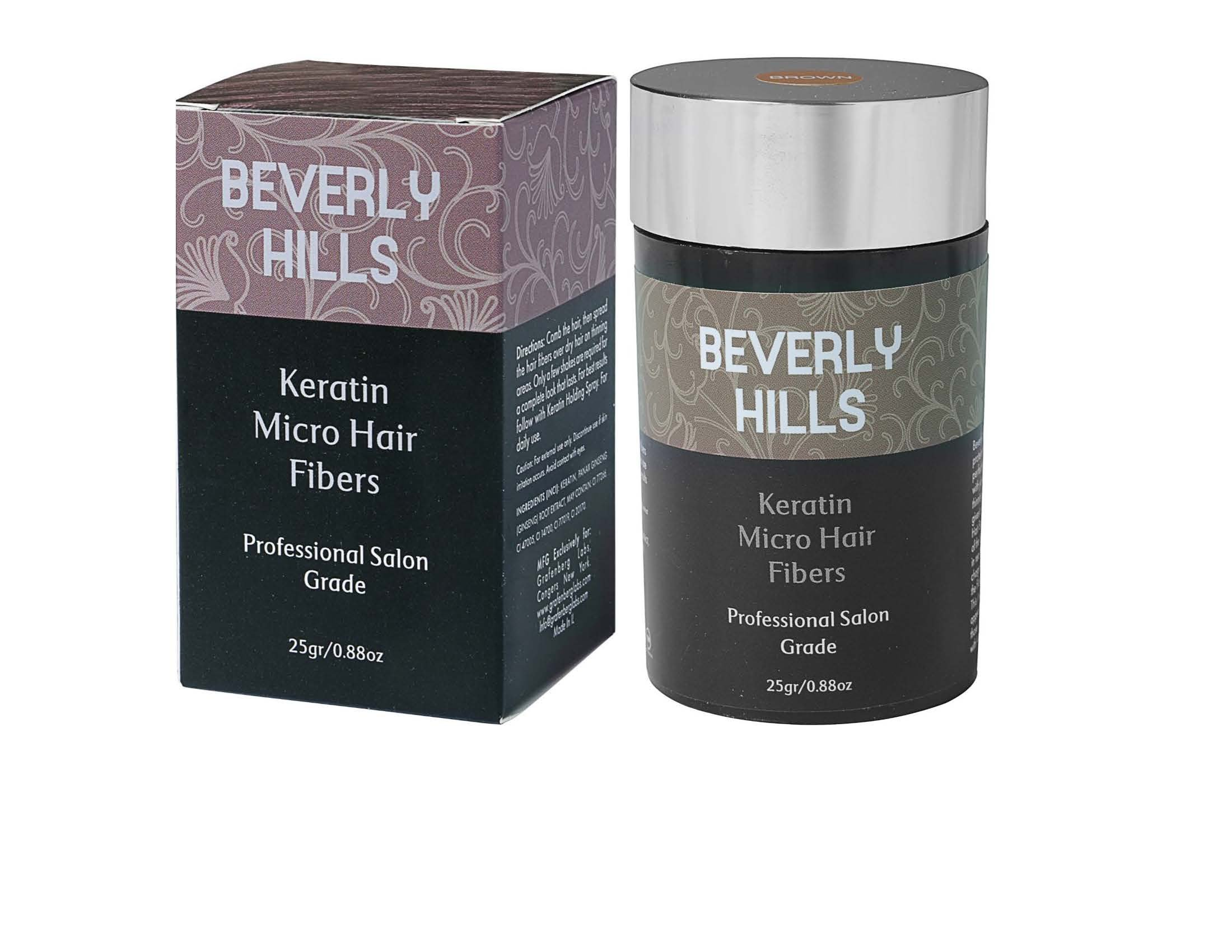 Hair Building Keratin Fibers - Conceal Hair Loss, Add Thickness and Body, and Thicken Thinning Roots - for Men and Women by Beverly Hills (Black) by Beverly Hills