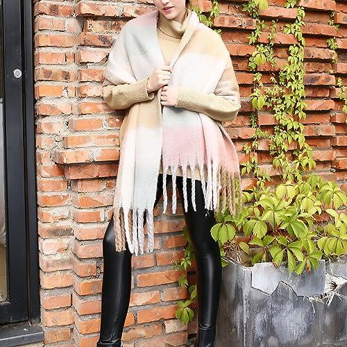 Mujer Bufandas de Invierno y Otoño, MeiC Power 215x50cm Plaid y Borla Modelado PashminaLarga Scarf d...