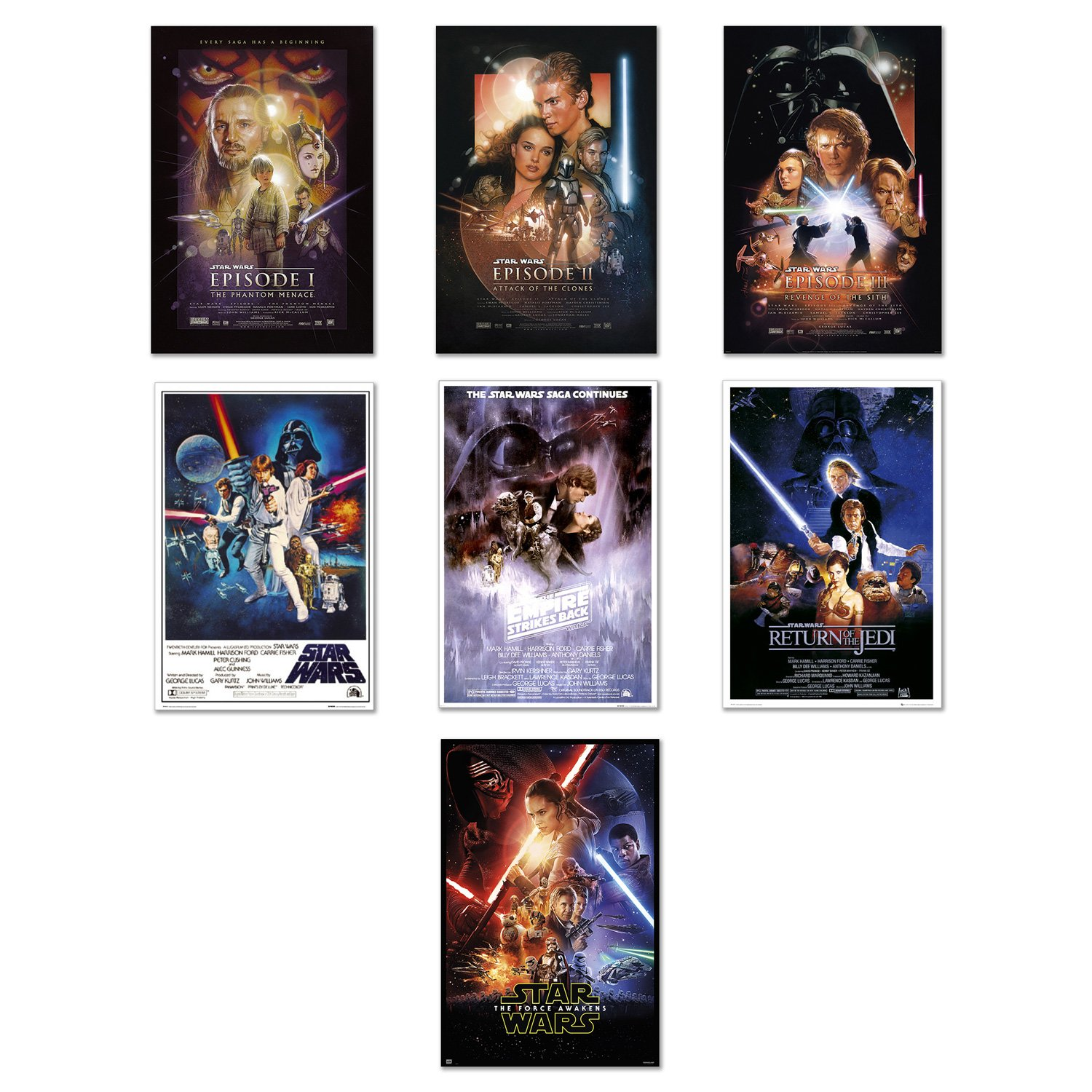 "Star Wars: Episode I, II, III, IV, V, VI & VII - Movie Poster Set (7 Individual Full Size Movie Posters) (Size: 24"" x 36"" each)"