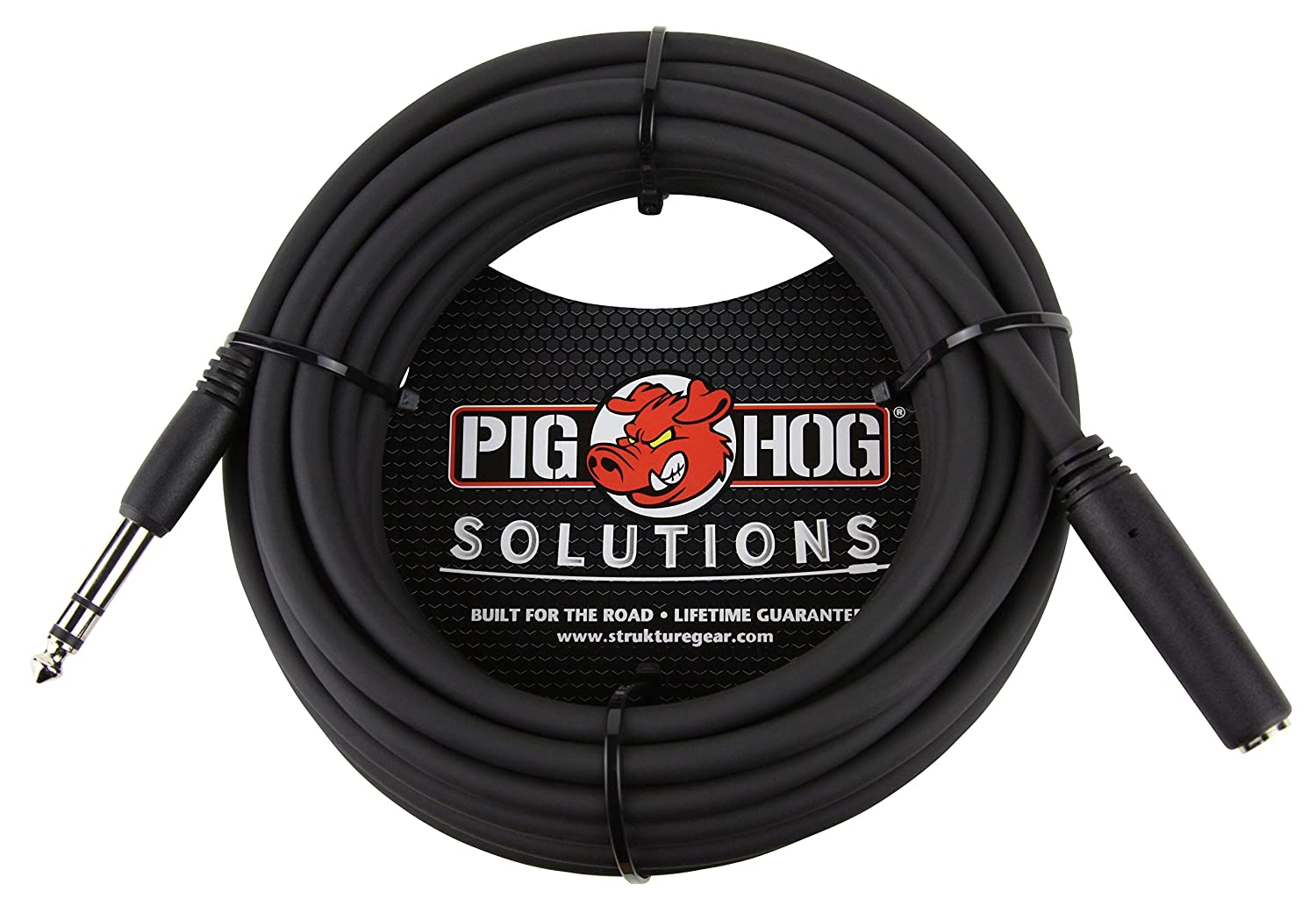 Pig Hog PHX14-25 1/4' TRS (Female) to 1/4' TRS (Male) Headphone Extension Cable, 25 feet PHX1425