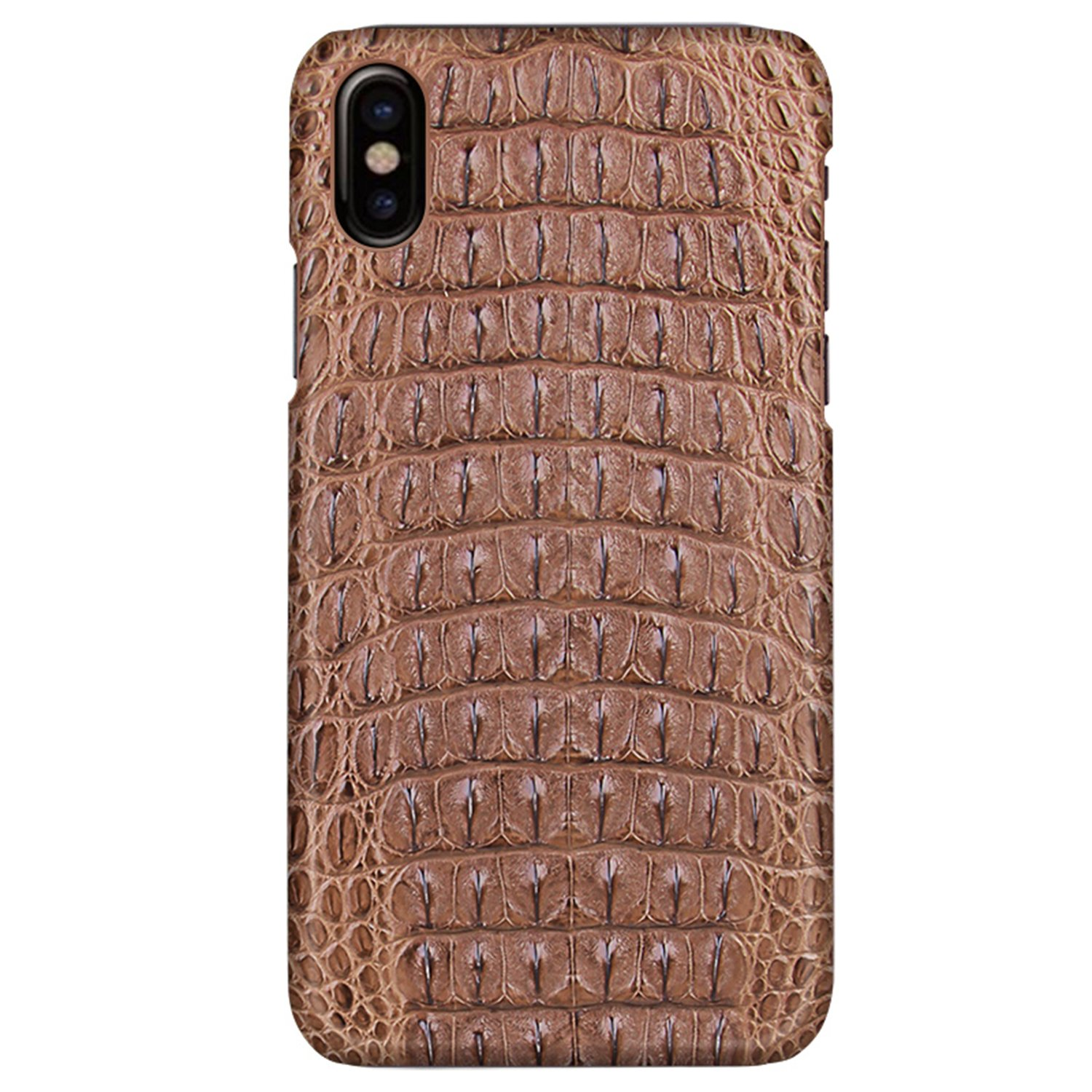 UU&T Luxury Case Classic Crocodile Leather Lightweight Hardshell Back Case for iPhone X 5.8 Inch (Brown)