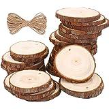 Rodajas de Madera Círculos 6-7cm 30 pezzi TICOSH Discos de Madera Rebanada 10m Cuerda
