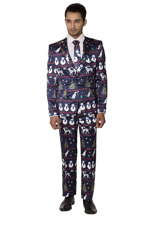 Noroze Herren Prämie Neuheit Rentier Baum Outfit Kostüm Weihnachten Anzug