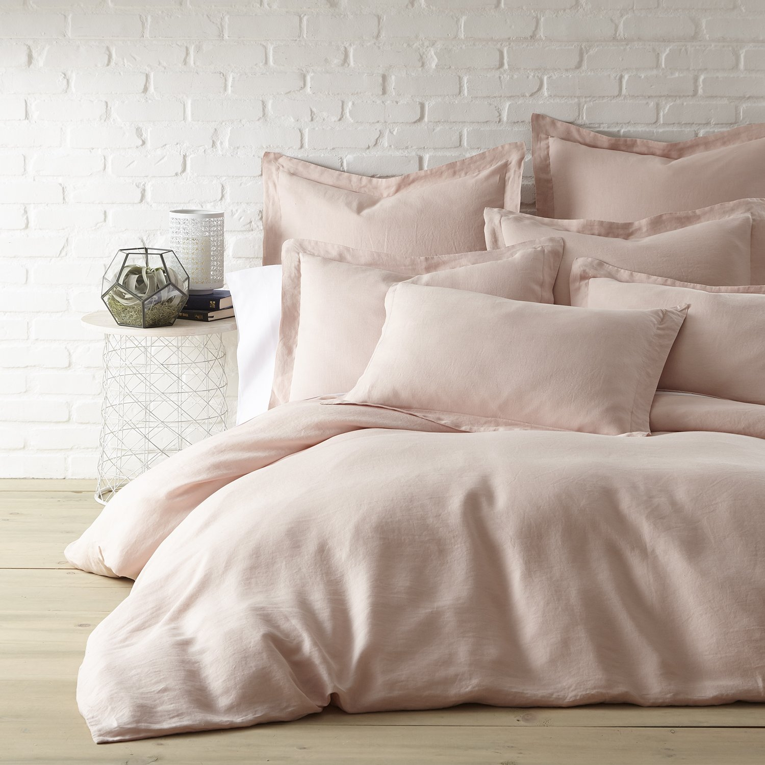 Washed Linen Blush Queen Duvet Cover