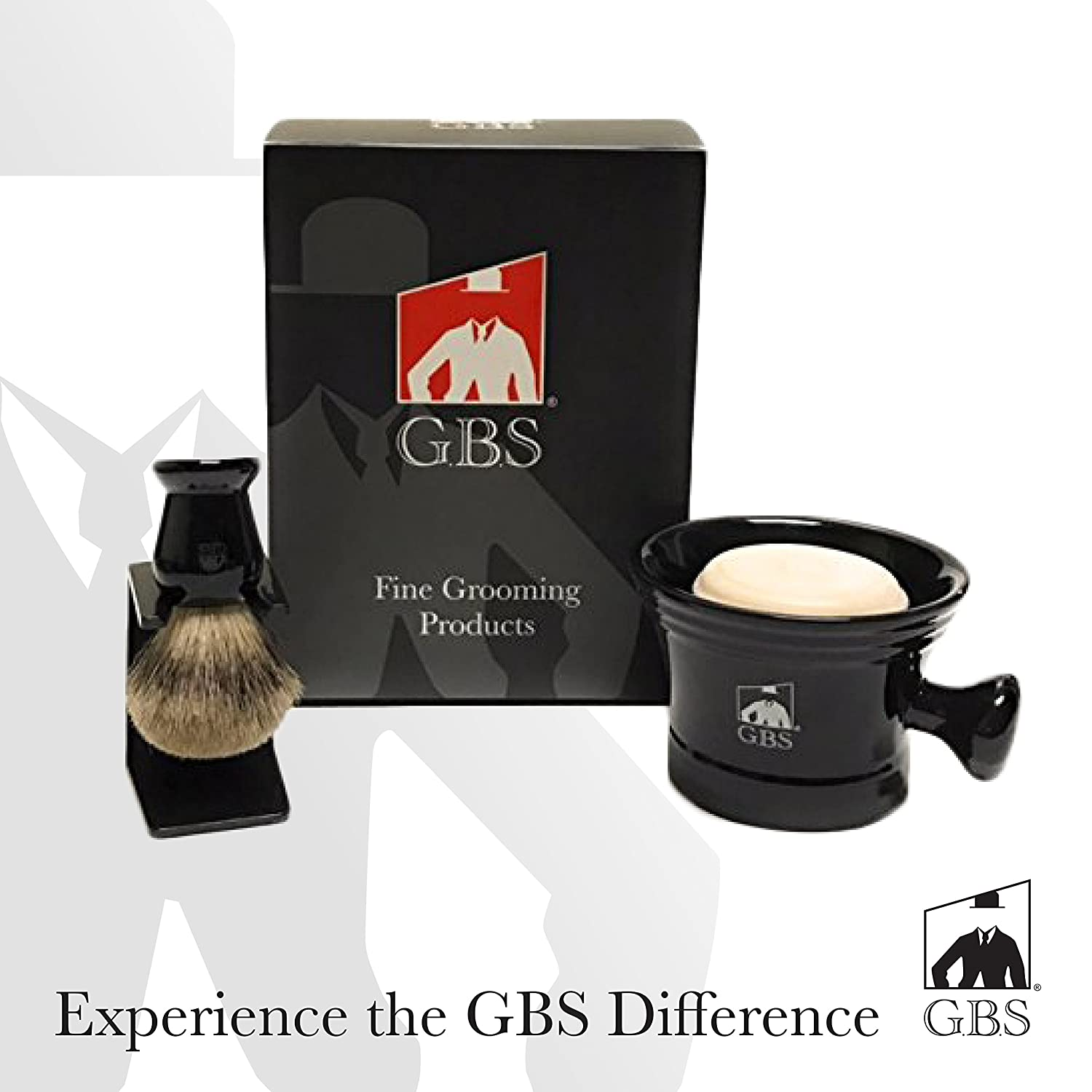 Men's Grooming Set - Comes with Gift Box - Black Shaving Mug with Knob Handle, 100% Pure Badger Brush, Brush Stand and 97% All Natural Gbs Ocean Driftwood Shave Soap by GBS