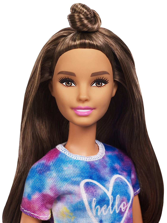 Barbie Fyb31 Fashionistas Puppe Im Batik T Shirt Mit Braunen