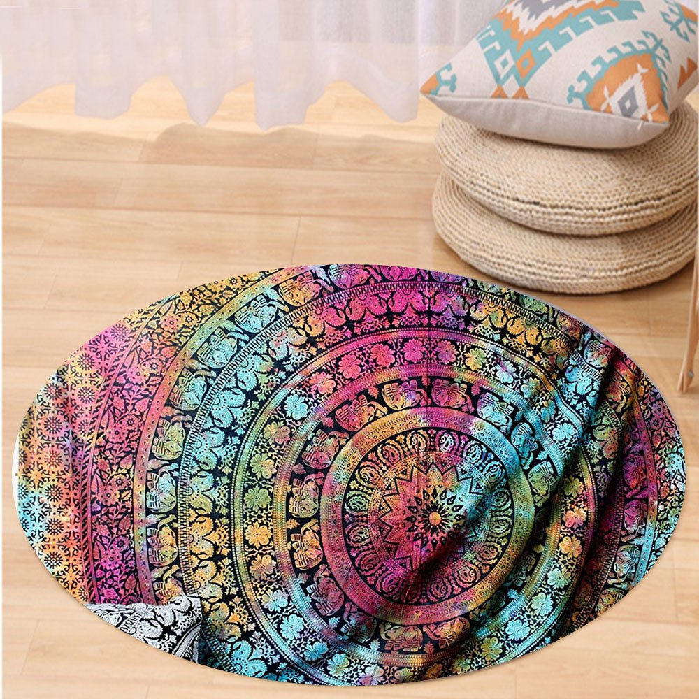Kisscase Custom carpetNew launched Popular Twin tye dye Hippie Elephant Mandala Indian Traditional Beach Throw Art College Dorm Bohemian Twin Bedspread By Popular Handicrafts
