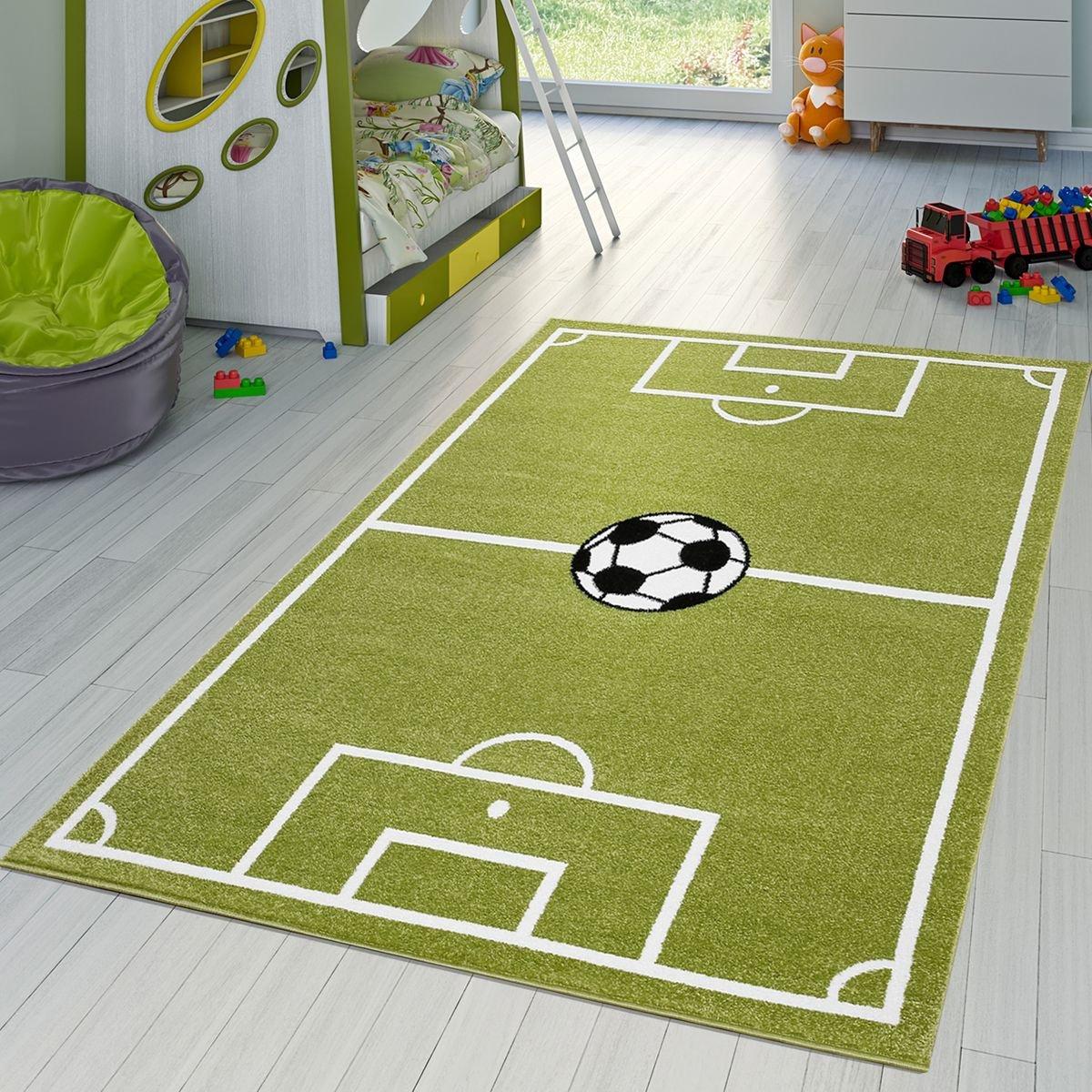 T&T Design Kinder Teppich Fußball Spielen Kinderzimmerteppiche Fußballplatz in Grün Creme, Größe 200x280 cm