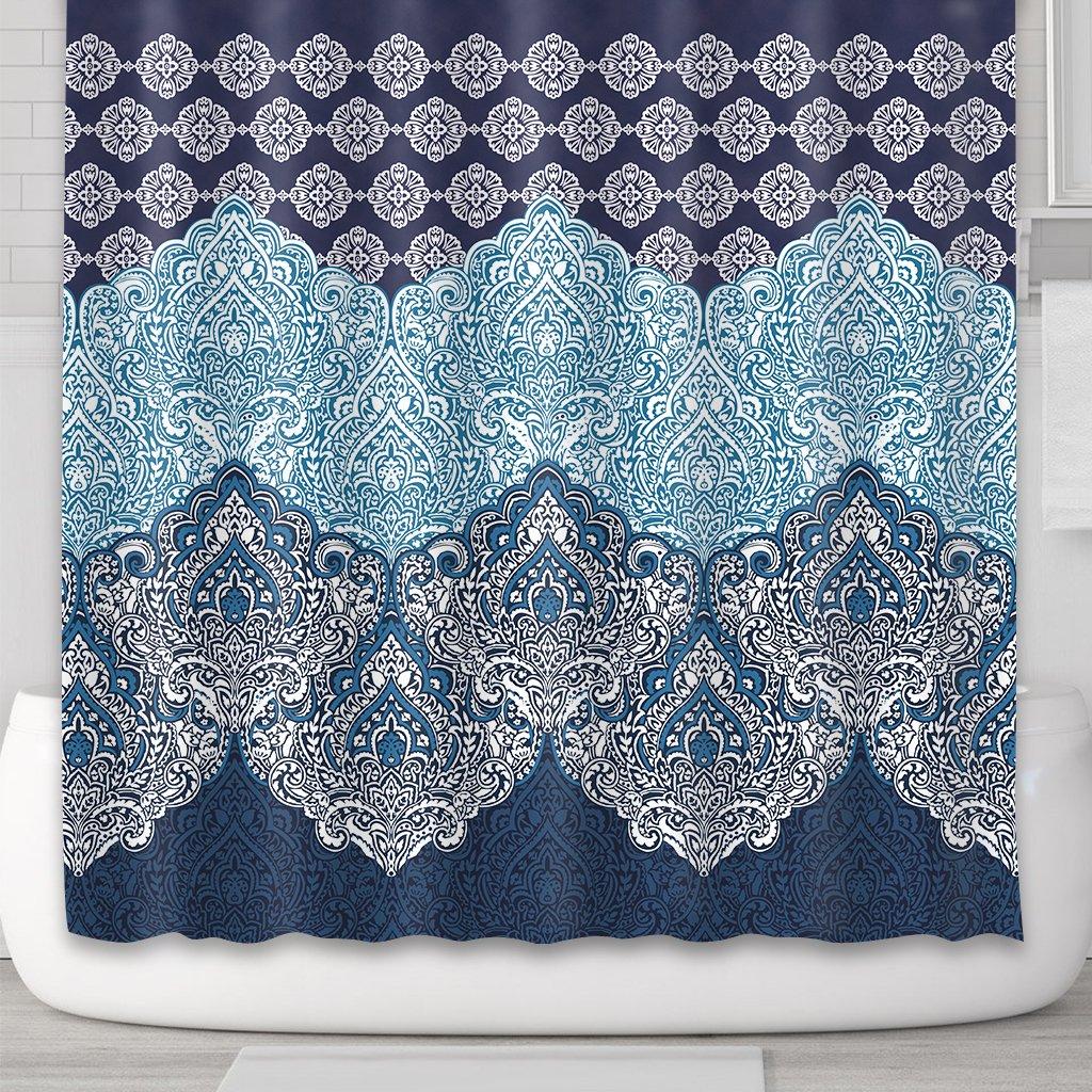 Cdcurtain Boho Paisley Shower Curtain Panel Free Metal Hooks 12-Pack Floral India Bohemia Dark Navy Shower Curtain Panel Polyester Waterproof Fabric Clawfoot Tub 72x72 Inch by Cdcurtain (Image #4)