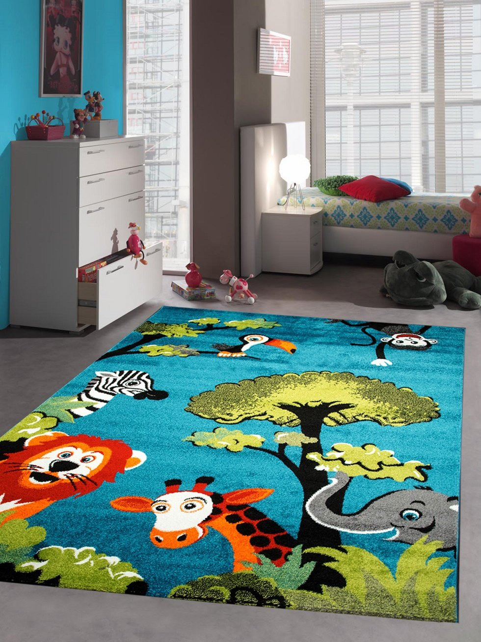 Children carpet Game carpet children rug zoo animals cute colorful animals Elephant Giraffe Lion Monkey Zebra Turquoise Orange Green Gray Red Creme Black size 80x150 cm Traum