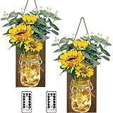 AerWo Sunflower Mason Jar Sconces Wall Decor Set of 2, Upgraded Hanging Sunflower Wall Decor with Remote LED Fairy Lights Rus