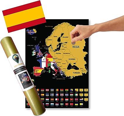 Global Walkabout ESPAÑOL - Mapa de scratch de países europeos con fondo de banderas - Regalo De Viaje -(negro): Amazon.es: Oficina y papelería