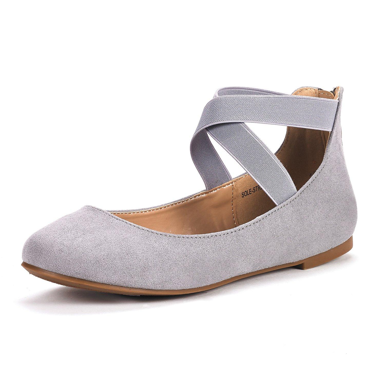 DREAM PAIRS Women's Sole_Stretchy Fashion Elastic Ankle Straps Flats Shoes B078PWK8F8 6.5 B(M) US|Grey