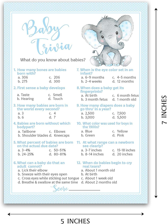 Amazon Com Blue Elephant Baby Shower Game Baby Trivia Games