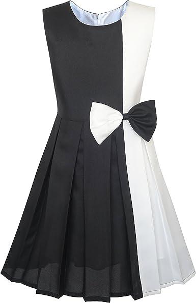 Sunny Fashion Vestido para niña Bloque de Color Contraste Corbata ...