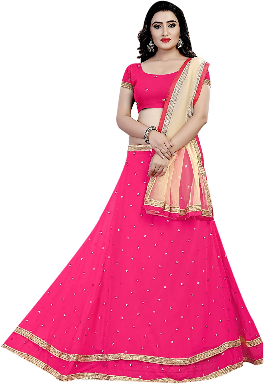 Aryan Fashion Women's Georgette Lehenga Choli, Free Size (Pink, AFS-ER-Ewe10658)