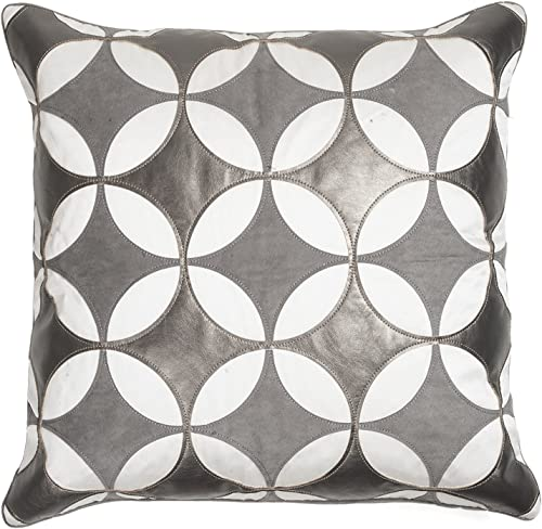 Edie At Home Kaleidoscope Applique Decorative Pillow, 18X18, Charcoal Grey