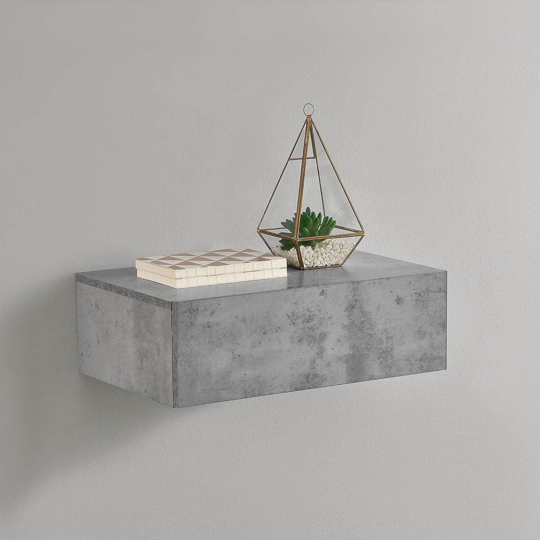 [en.casa] Mesita de Noche de Pared con un cajón - Aspecto de hormigón - 46x30x15cm