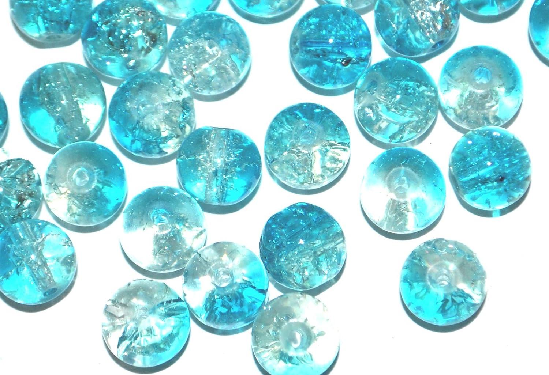 Cuentas redondas de cristal de colores para bisuter/ía 4 mm color azul y transparente 6 mm 2 tonos 8 mm Markylis