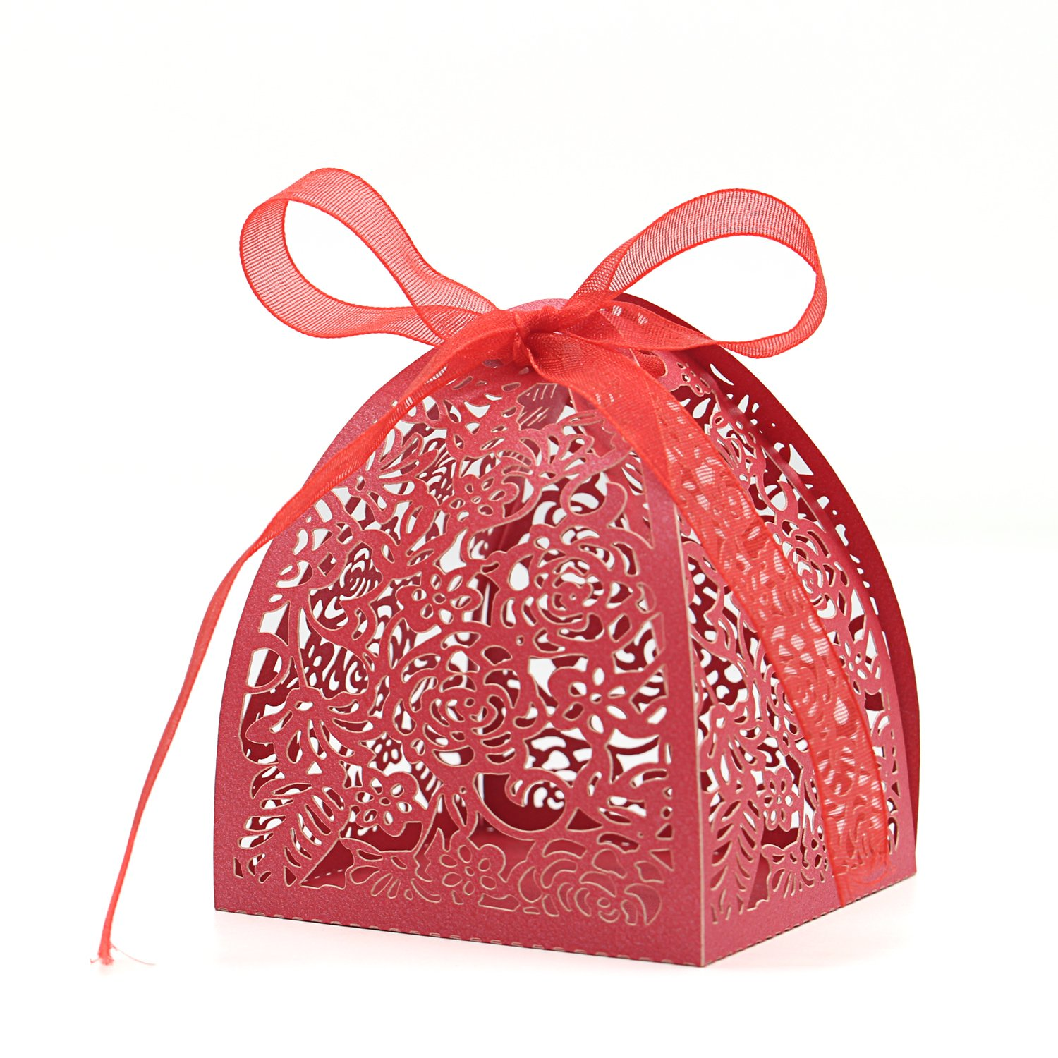 Amazon.com: KEIVA Pack of 70 Laser Cut Rose Candy Boxes, Favor Boxes ...