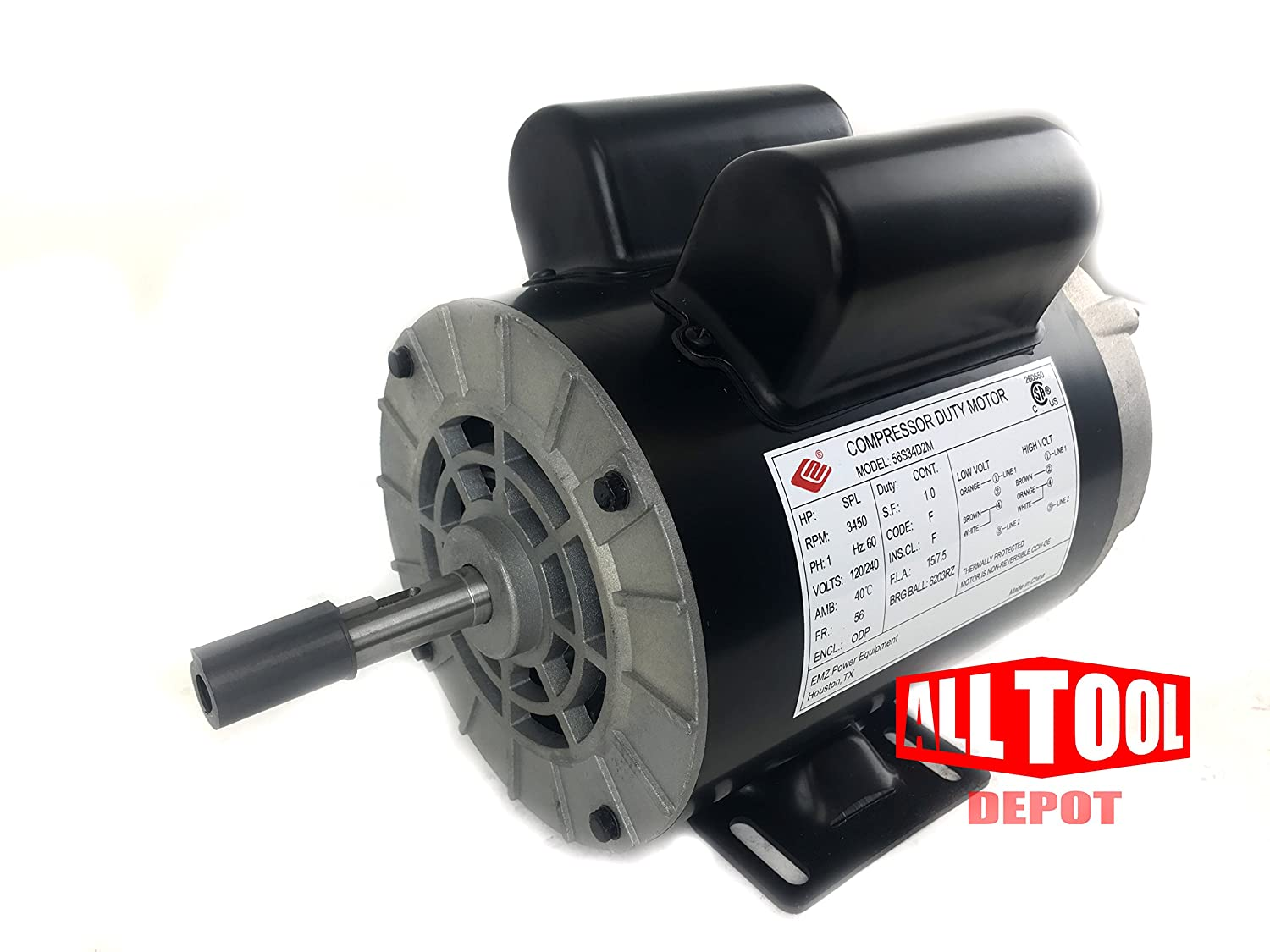 "2 HP SPL 3450 RPM, 56 Frame, 120/240V, 15/7.5Amp 5/8"" Shaft, Single Phase NEMA Air Compressor Motor - EM-02"