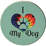 "I Heart My Dog Love Tie Dye Car Auto Coaster Absorbent Stone 2.5"" Cup Holder"