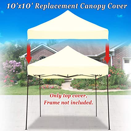 online store adfe4 ec22f Strong Camel Pop up 10'X10' Replacement Ez Gazebo Canopy Awning Roof Top  Cover (Ecru)