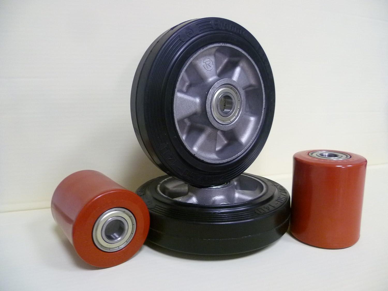 Transpaleta Juego completo y ruedas para Jung Heinrich Transpaleta goma Poliuretano con rodamiento de bolas para año de construcción Después de 2000: ...