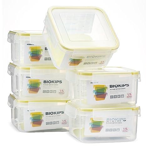 Genial Komax Biokips Square Food Storage Container 37oz. (set Of 6)   Airtight,