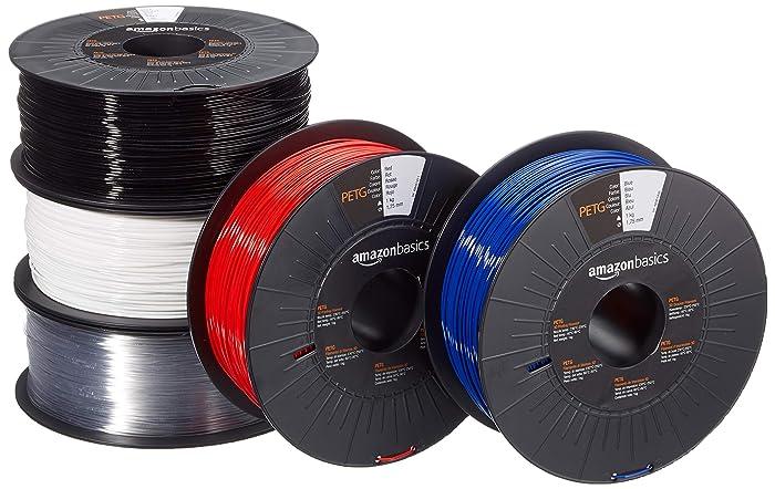 AmazonBasics PETG 3D Printer Filament, 1.75mm, 5 Assorted Colors, 1 kg per Spool, 5 Spools