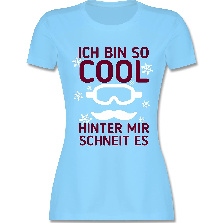 Wintersport - Ich bin so cool, hinter mit schneit es - tailliertes Premium T-Shirt mit Rundhalsausschnitt für Damen