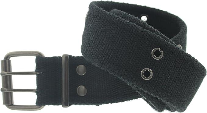 BELT UNISEX Web Cotton Canvas Khaki 2 Holes Black Grommet S,M,L,XL,2X,