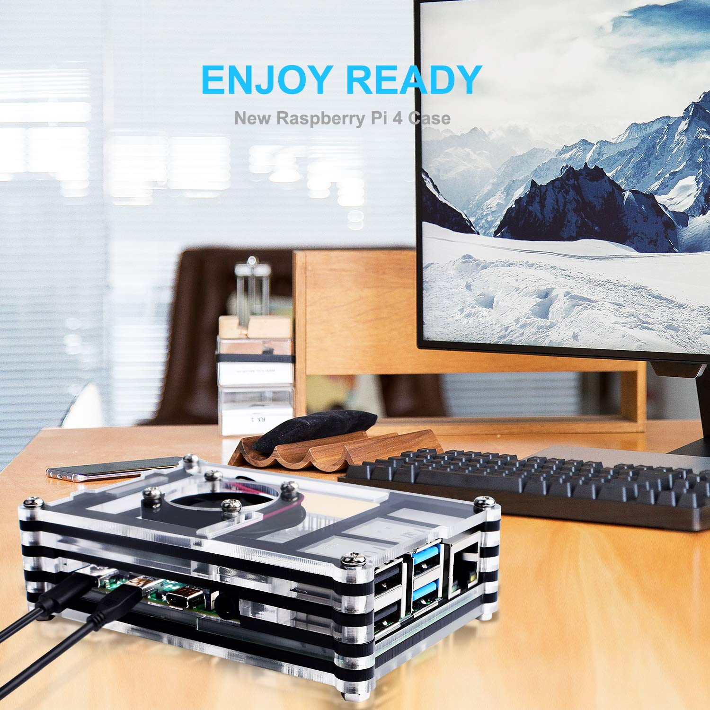 4 b //4b 3 x Silver Heatsinks for Raspberry Pi 4 Model B Pi 4 Board Not Included Bruphny Case for Raspberry Pi 4 with Fan