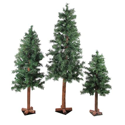 4f0338b24dc7f Image Unavailable. Image not available for. Color  Northlight Set of 3  Woodland Alpine Artificial Christmas Trees ...