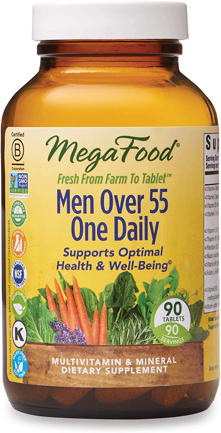 MegaFood - Men Over 55 One Daily, Multivitamin Support for Healthy Energy Production and Immunity with Vitamins C and D3, and Methylated Folate and B12, Vegetarian, Gluten-Free, Non-GMO, 90 Tablet
